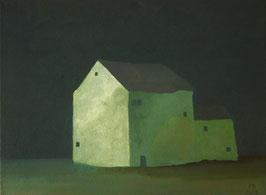 """Martin Guido Becker, """"Grünes Haus"""", 2016,Öl/Lwd, 30/40 cm"""
