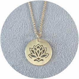Anhänger Collier Kette Lotusblüte Lotus Blume Silber Perle Brillant handgemacht handmade silver pearl pendant flower