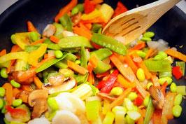 Detox Hauptgerichte: Gemüse-Pfanne mit Bohnen und Pilzen