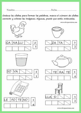 ejercicios de dos, tres o más sílabas para ordenar