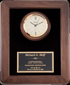 walnut frame clock plaque black velour