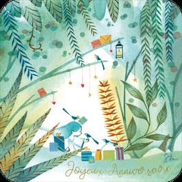 Carte d'anniversaire finition or illustrée par Cécile Le Brun