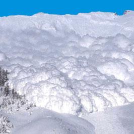 Una valanga di neve polverosa