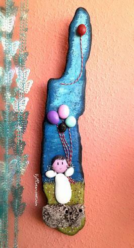 vymcreaciones, madera de mar, madera deriva, piedras pintadas, decoración ecológica, niña globos, etsy shop, artesanía con piedras, decoración hippie