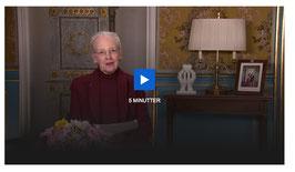Dänemarks Königin Margrethe II bei ihrer Fernsehansprache am 17. März 2020. Screenshot: C. Schumann
