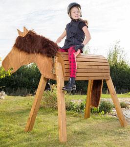 """Das Holzpferd """"Dakota"""" ähnelt einem Wildpferd und weist deshalb im Gegensatz zu anderen Pferden aus Holz ein außergewöhnliches Design auf."""