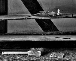 Andreas Maria Schäfer,fotograph1956,Fotografewelten,Stillleben,Brotbacken,Utensillien,Feder,Bürste,Topflappen,Messer
