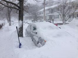 ↑埋もれた愛車。ボストン市内では多くの人が路上駐車なため、雪嵐時にはこんな風になってしまいます。