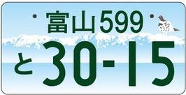 行政書士ふじた国際法務事務所図柄入りナンバープレート【富山】