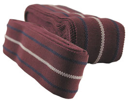 decorative ribbon no. 23, cotton, bordeaux with blue-white stripes, width 9, while stocks last