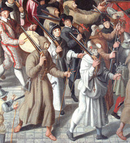 « Procession de la Ligue dans l Ile de la Cite by Francois II Bunel 1522 1599 detail » par Francois_II_Bunel, World Imaging — Travail personnel, photographed at Musee Carnavalet. Sous licence CC BY-SA 3.0 via Wikimedia Commons - https://commons.wikimedia.