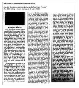 """Nachruf der """"Buffalo Freie Presse""""  Nr. 222 Jahrg. 18 vom Montag, d. 2.März 1903"""