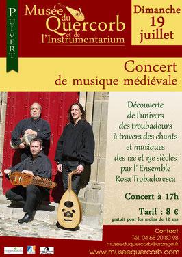 concert de musique médiévale avec Nicolas Desvenain au musée du Quercorb à Puivert