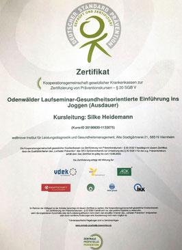 Präventionskurs Zertifikat Laufseminar Zertifizierung