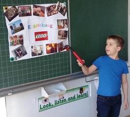 """Ich habe für mein Referat das Thema """"Entstehung des LEGO"""" gewählt, weil es cool ist."""