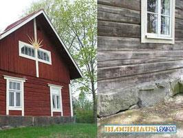Holzhaus -  Technischer Holzschutz  - Ausreichend hohe Fundamente und breite Traufen - Diffusionsoffene  Anstiche und Lasuren - Holzlasur - Holzschutzmittel  - Wetterschutz  - Tradition - Patina