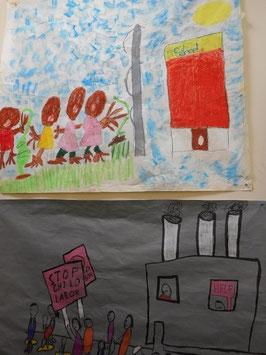 """""""Social justice""""をテーマに、児童労働やセグリゲーションについて調べて描いた絵"""