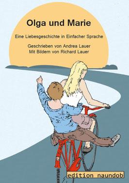 Buchcover Olga und Marie: 2 junge Frauen fahren auf einem Fahrrad in Richtung Sonne