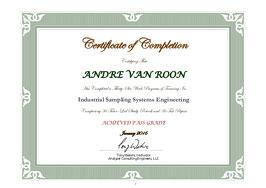"Andre van Roon certified as ""Industrial Sampling Systems Engineer"" by Tony Waters"