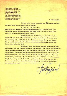 Hans Fabigan. gutachten zu Heinz Traimer 1964.