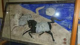 鏝絵の絵馬額 白黒神馬