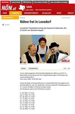 Bühne Loosdorf bringt Volksstück Die Gschicht vom Brandner Kaspar