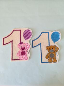 Zahlen mit Bär, gestickt und freie Farbwahl