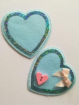 Herz Applikationen zum aufbügeln mit Pailletten