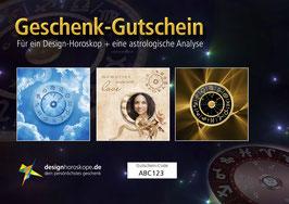 3 digitale Geschenk-Gutscheine für: Design-Horoskop + professionelle Horoskop-Deutung