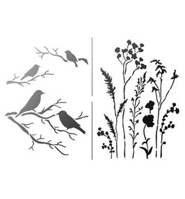 Stencil Vogels en Veldbloemen, A4