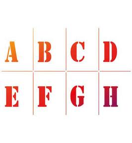 Vijfdelige sjablonenset Alfabet en Cijfers