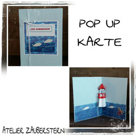 Kommunionkarte Pop-UP Leuchtturm rot