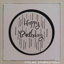 Karte Happy Birthday weiss-schwarz