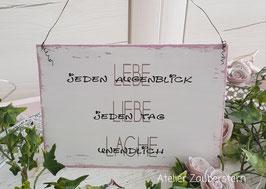 Holzschild Vintage Lebe, Liebe, Lache