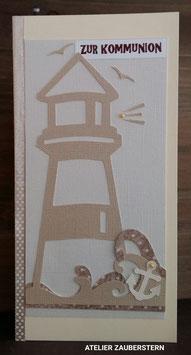 Kommunionkarte Leuchtturm mit Möwen