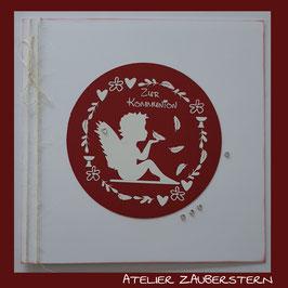Kommunionkarte Engel mit Feder