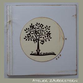 Kommunionkarte Baum mit Symbolen
