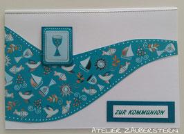 Kommunionkarte Kelch türkis