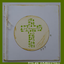 Kommunionkarte Kreuz/Symbole