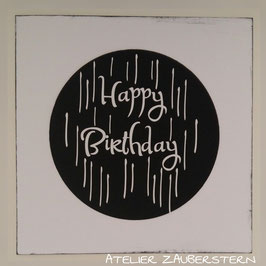 Karte Happy Birthday schwarz-weiss