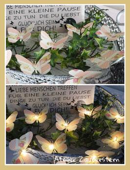 LED-Lichterkette Schmetterling Rosenmuster