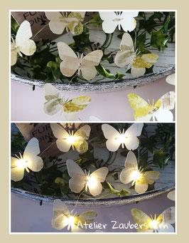 LED-Lichterkette Schmetterling beiges-gelb