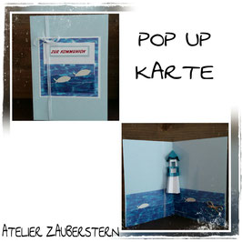 Kommunionkarte Pop-Up Leuchtturm blau