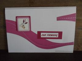 Karte Firmung Taube pink