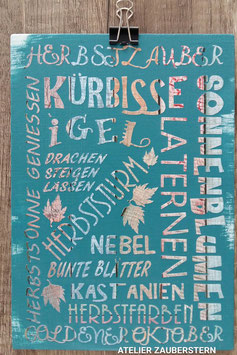 Holzschild Wortmosaik Herbst