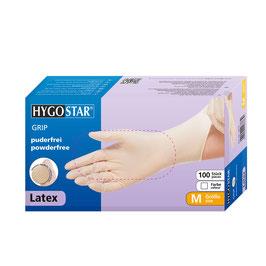 Hygostar Latex Einweghandschuhe GRIP 100er Box