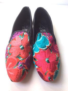 Grösse 41 Bestickte Lederschuhe aus Mexiko pink-rot-grün