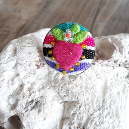 Ring rund bestickt rosa aus Mexiko (handmade)