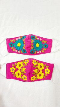 Farbenfrohe Boho Alltagsmaske pink (petrol-gelb)