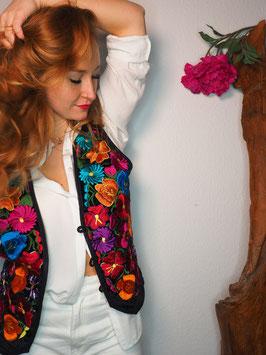 Damenweste voller Blumenstickerei aus Mexiko (M-L)